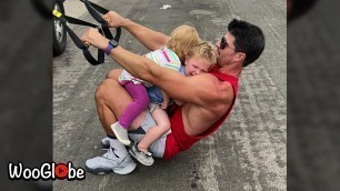 'Fitness Freak Father Workout with Kids    Best Viral Videos'