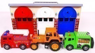 'Learn Colors with Toy Vehicles and Garage Playset for Kids! Compilation Video for Children'