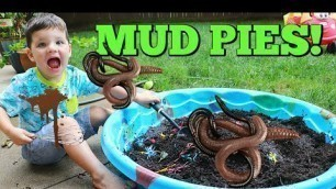 'Kid Playing Outside Making GIANT Mud Pies with REAL WORMS!'