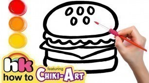 'Glitter Burger to Learn Colors for kids, How To Draw, Paint & Learn Colors for kids children'