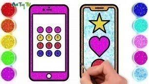 'Glitter Mobile Phone Coloring Pages For Kids   Telepon Genggam Halaman Mewarnai'