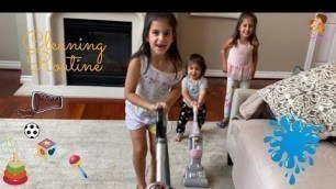 'Kids Chores Cleaning Routine! Toys Clean Up,  Mopping, Dishes and More...'