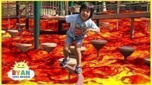 'The floor is Lava challenge Family Fun Kids Pretend playtime'